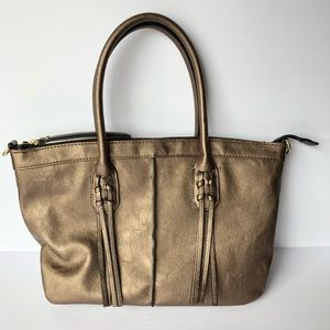 Handbags - Bronze faux leather tote